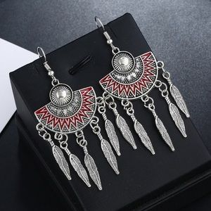 Silver/Red Accented Boho Earrings w/Feather Fringe